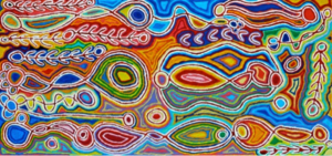 Painting by Judy Watson Napangardi depicting the dreaming of her ancestral land 'Mina Mina' on the border of the Tanami and Gibson deserts where she grew up in the nomadic tradition with her family.